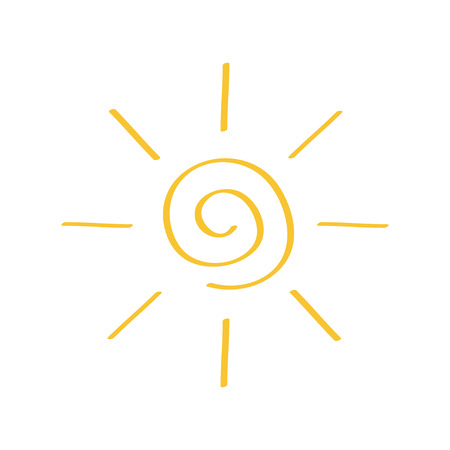 Yellow spiral sun shining sign symbol. Swirl shape. Thin line icon. Hello summer. Flat design. Isolated. White background. Vector illustration Vektorové ilustrace