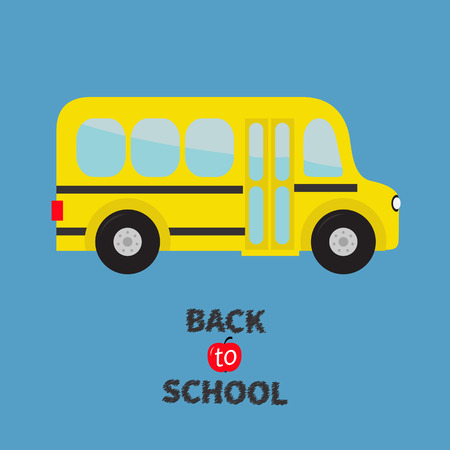 back view student: Yellow school bus kids. Cartoon clipart. Transportation. Baby collection. Side view. Back to school. Greeting card. Flat design. Isolated. Blue background. Vector illustration
