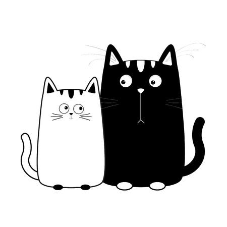 Leuke cartoon zwart-witte kat jongen en meisje. Kitty paar op datum. Grote snor snorhaar. Grappig tekenset. Gelukkig gezin. Liefde wenskaart. Plat ontwerp. Achtergrond baby. Geïsoleerd Vector illustratie