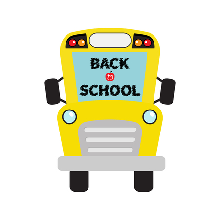 back view student: Back to school. Yellow school bus kids. Cartoon clipart. Transportation. Baby collection. Full face view. Greeting card. Flat design. Isolated. White background. Vector illustration