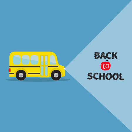 back view student: Yellow bus. Transportation. Side view. Back to school. Light from headlights. Greeting card. Flat design. Vector illustration