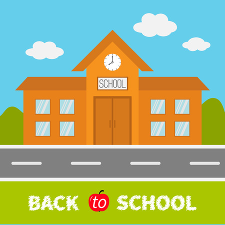 School building with clock and windows. City construction. Road, sky, cloud. Education clipart collection. Back to school text. Flat design. Cartoon background. Vector illustration Illustration