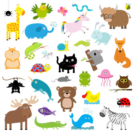 frog queen: Zoo animal set. Cute cartoon character collection. Isolated. White background. Baby children education. Alligator, bear, cat, duck, elephant frog giraffe hamster iguana Flat design Vector illustration