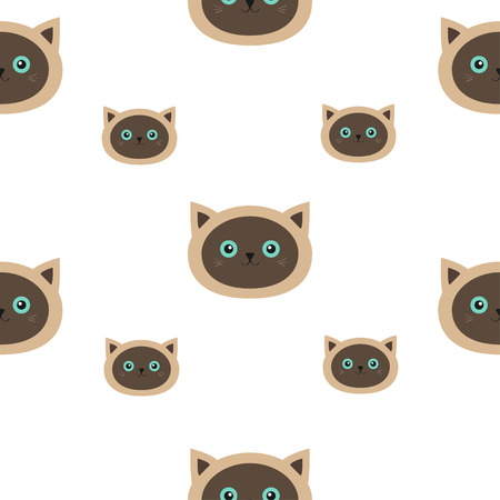 siamese cat: Siamese cat seamless pattern Flat design style. Cute cartoon character. Happy kitten with blue eyes. Baby background. Isolated. Vector illustration