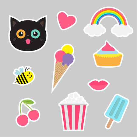 nineties: Quirky cartoon sticker patch set. Summer time badges. Fashion pin collection Cat, heart rainbow cloud cupcake bee ice cream popcorn lips cherry. Isolated Baby background. Flat design Vector