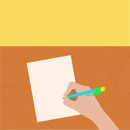 pencil and paper: Hand writing drawing pen. Woman holding pencil. Paper sheet. Wooden desk table. Writer, student, artist. Body part. Template empty. Flat design Isolated Yellow background. Vector illustration