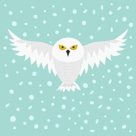 Snowy white owl. Flying bird with big wings. Yellow eyes. Arctic Polar animal collection. Baby education. Flat design. Isolated. Sky background snow and snowflake. Vector illustration Stock Illustratie