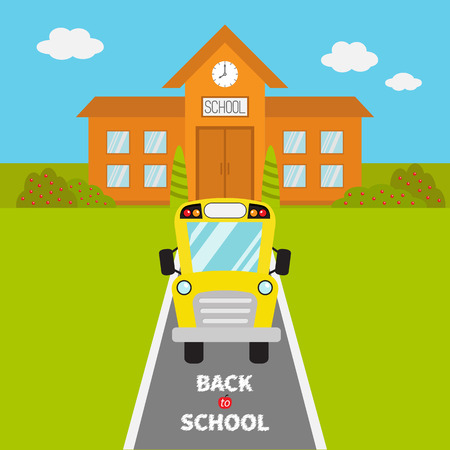 School Building With Clock And Windows City Construction Yellow Bus Kids On The
