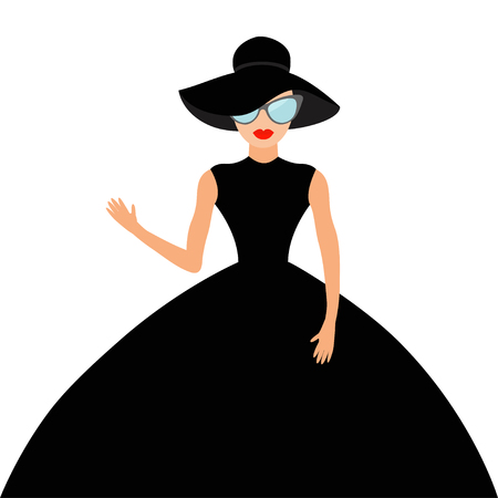 rich people: Woman in black elegant hat and big dress, sunglasses waving. Rich beautiful celebrity girl. Beauty fashion model face red lips. People Cute cartoon character Flat White background Isolated Vector