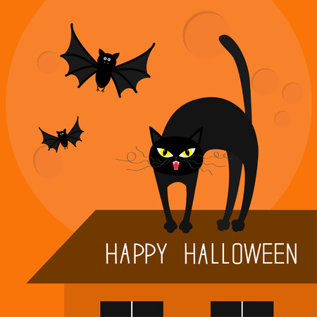 whisker: Cat arch back. Kitty on roof. Yellow eyes, fangs, curl whisker. Flying bats. Happy Halloween card. Moon, house, windows. Funny cartoon character Isolated Orange background. Flat design Vector Illustration