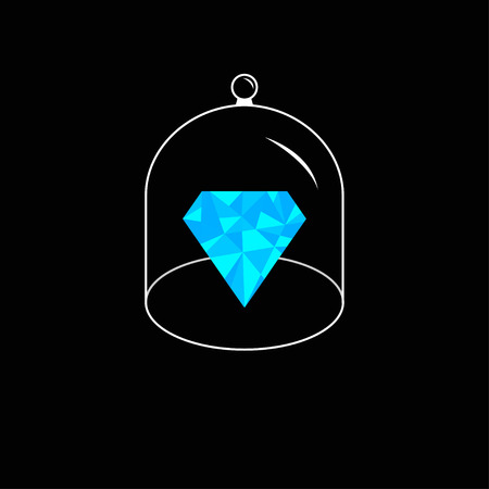 glass dome: Blue polygonal diamond. Glass bell cover cap. Half sphere lid dome with handle. Black background. Vector illustration.