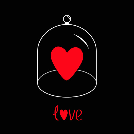love dome: Red heart. Glass bell cover cap. Half sphere lid dome with handle. Love greeting card. Black background. Vector illustration.