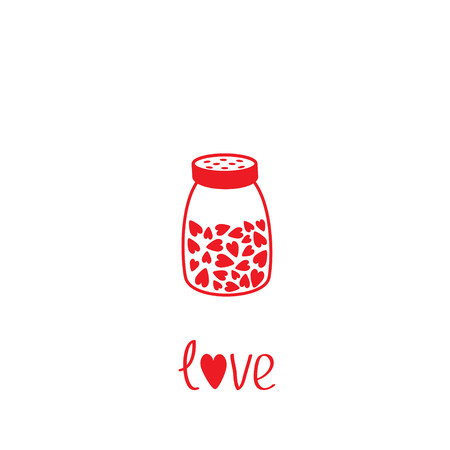 salt shaker: Salt shaker with hearts crystals inside. Glass container. Line icon. Love card. Flat design. Isolated. White background. Vector illustration.