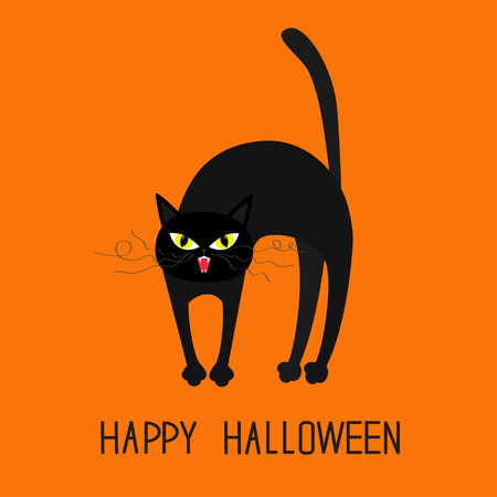 whisker: Cat arch back. Yellow eyes, fangs, curl moustaches whisker. Happy Halloween greeting card. Funny cartoon character. Isolated. Orange background. Flat design. Vector illustration