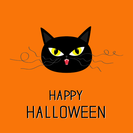 whisker: Black cat head. Yellow eyes, fangs, curl moustaches whisker. Happy Halloween greeting card. Funny cartoon character. Isolated. Orange background. Flat design. Vector illustration