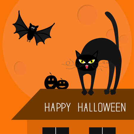 whisker: Cat arch back. Kitty on roof. Yellow eyes, fangs, curl whisker. Flying bat. Pumpkin. Happy Halloween card. Moon, house, windows. Funny cartoon character Isolated Orange background. Flat design Vector
