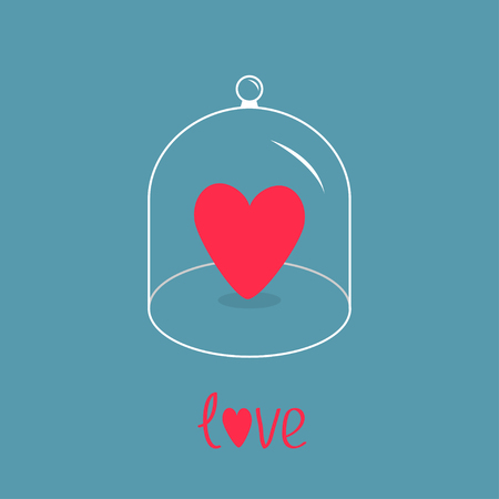 love dome: Pink heart. Glass bell cover cap. Half sphere lid dome with handle. Love greeting card. Blue background. Vector illustration. Illustration