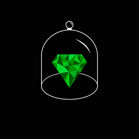 glass dome: Green polygonal diamond. Glass bell cover cap. Half sphere lid dome with handle. Black background. Vector illustration. Illustration