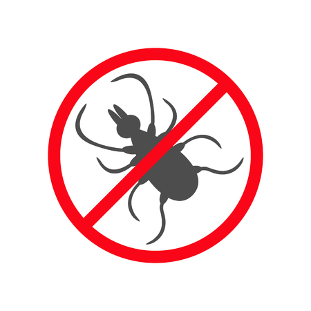 parasite: Tick insect silhouette. Mite deer ticks icon. Dangerous black parasite. Prohibition no symbol Red round stop warning sign. White background. Isolated. Flat design. Vector Illustration