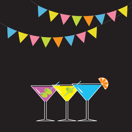 Set of three glasses with different cocktails. Triangle paper flags. Black background. Colorful flag set hanging on rope. Cocktail party card. Flat design. Vector illustration Illustration
