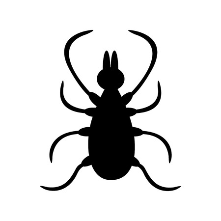 Tick insect silhouette shape. Mite deer ticks big icon. Dangerous black parasite. White background. Isolated. Flat design. Vector illustration Illustration