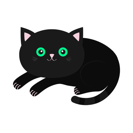 whisker: Cute lying black cartoon cat with moustache whisker. Funny character. White background. Isolated. Flat design. Vector illustration Illustration