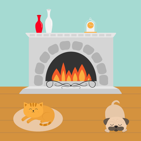 Cute cat lying on oval carpet rug mat. Sleeping mops pug dog. Funny cartoon character. Fireplace with vase set and clock. Burning fire. Flat design. Vector illustration