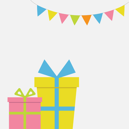 Two Gift boxes couple with ribbon and bow. Present giftbox. Triangle paper flags. Colorful flag set hanging on rope. Greeting card. White background. Isolated. Flat design. Vector illustration
