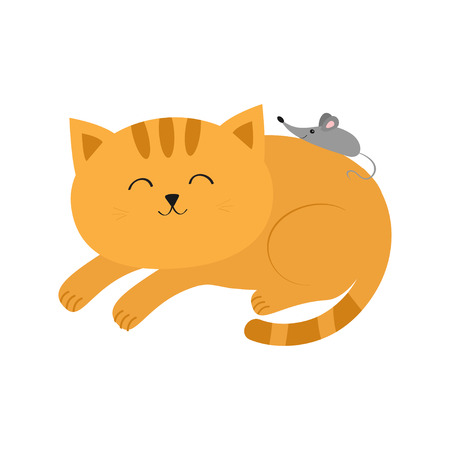 Cute lying sleeping orange cat with moustache whisker. Little mouse. Animal friends. Funny cartoon character couple. White background. Isolated. Flat design. Vector illustration Illustration