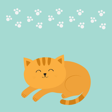 whisker: Cute lying sleeping orange cat with moustache whisker. Funny cartoon character. White animal paw print. Blue background. Isolated. Flat design. Vector illustration