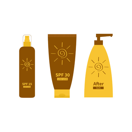 sun protection: After sun lotion. Tube of sunscreen suntan oil cream. Bottle set. Solar defence. Spiral sun sign symbol icon. SPF 15 30 sun protection factor. UVA UVB sunscreen. Isolated White background. Flat Vector Illustration