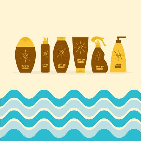 suntan cream: Tube of sunscreen suntan oil cream. After sun lotion. Bottle set. Solar defence. Spiral sun sign symbol icon. SPF different sun protection factor. UVA UVB sunscreen. Sea big wave frame. Flat Vector
