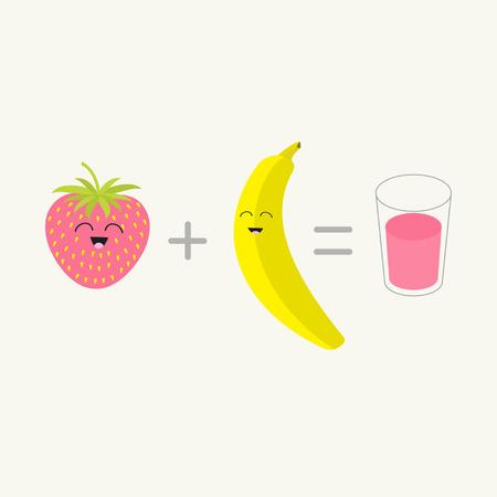 pareja comiendo: Plátano además de fresa fresco vaso de batido de jugo de igual batido. cuaja feliz. Caricatura sonriente carácter cara con los ojos. Amigos para siempre. El fondo blanco aislado. Diseño plano ilustración vectorial
