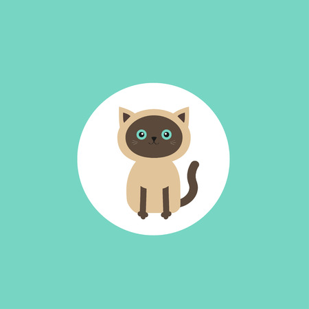 siamese: Siamese cat round circle icon in flat design style. Cute cartoon character. Happy sitting kitten with blue eyes. Isolated. Vector illustration