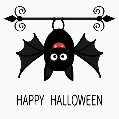 bat animal: Happy Halloween card. Cute cartoon hanging bat. Animal character. Baby illustration collection. Flat design. White background. Vector illustration