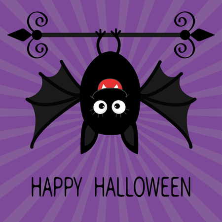 bat animal: Happy Halloween card. Cute cartoon hanging bat. Animal character. Baby illustration collection. Flat design. Violet sunburst starburst background. Vector illustration Illustration