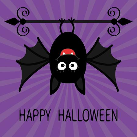 Happy Halloween-Karte. Nette Karikatur hängende Fledermaus. Tier Charakter. Baby-Abbildung Sammlung. Flaches Design. Violet Sunburst Starburst Hintergrund. Vektor-Illustration