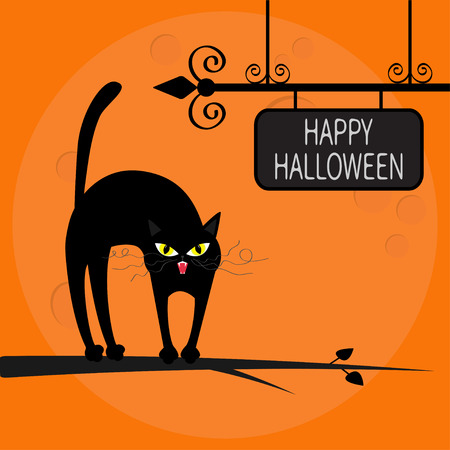 flat iron: Cat arch back on tree branch. Happy Halloween greeting card. Wrought iron sign board. Yellow eyes, fangs, curl moustaches whisker. Funny cartoon character Big moon Orange background Flat design Vector Illustration
