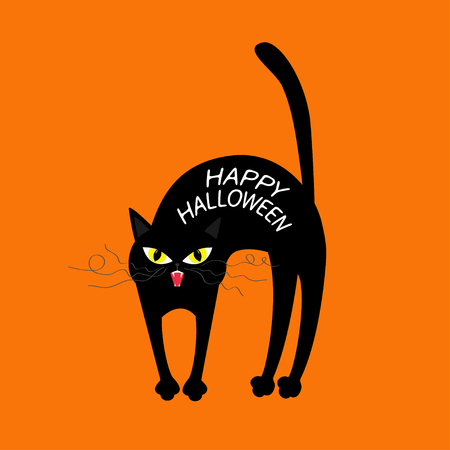 arched: Cat arch back. Happy Halloween greeting card. Yellow eyes, fangs, curl moustaches whisker. Funny cartoon character. Isolated. Orange background. Flat design. Vector illustration
