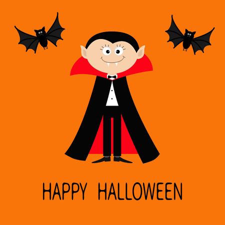 bat animal: Count Dracula wearing black and red cape. Cute cartoon vampire character with fangs. Two flying bat animal. Happy Halloween. Flat design. Orange background. Vector illustration