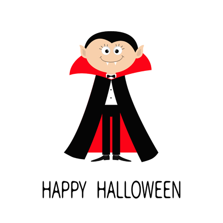 Count Dracula wearing black and red cape. Cute cartoon vampire character with fangs. Happy Halloween. Flat design. White background. Isolated. Vector illustration Illustration