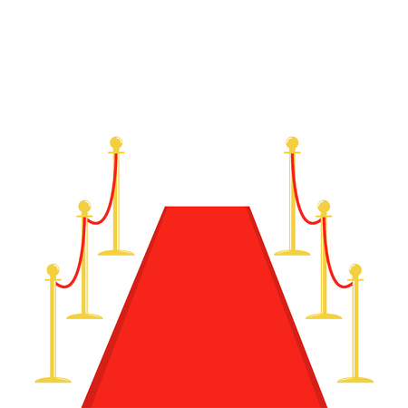 Red carpet and rope barrier golden stanchions turnstile Isolated template White background. Flat design Vector illustration Illustration