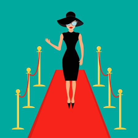 Rode loper en touw barrière gouden rongen tourniquet Geïsoleerd Vrouw in zwarte hoed, zonnebril zwaaien. Rich mooie beroemdheid meisje. Model. Groene achtergrond. Plat ontwerp Vector