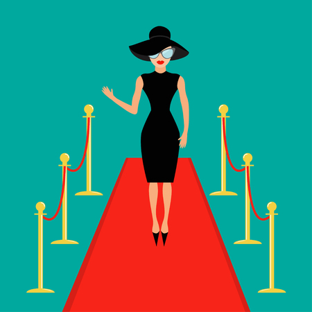 Red carpet and rope barrier golden stanchions turnstile Isolated Woman in black hat, sunglasses waving. Rich beautiful celebrity girl. Fashion model. Green background. Flat design Vector