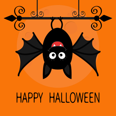 bat animal: Happy Halloween card. Cute cartoon hanging bat. Animal character. Baby illustration collection. Wrought iron. Big moon. Flat design. Orange background. Vector illustration
