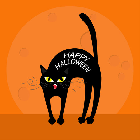 whisker: Cat arch back. Happy Halloween greeting card. Yellow eyes, fangs, curl moustaches whisker. Funny cartoon character. Big moon. Orange background. Flat design. Vector illustration Illustration