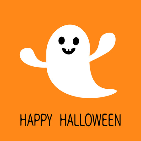 haunt: Funny flying ghost. Smiling face with tooth. Happy Halloween. Greeting card. Cute cartoon character. Scary spirit. Baby collection. Orange background. Flat design. Vector illustration