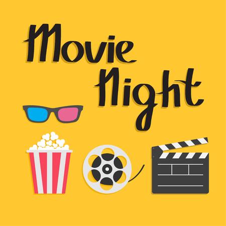 3D glasses Popcorn Movie reel Open clapper board Cinema icon set. Flat design style. Yellow background. Movie night text. Vector illustration Vector Illustration