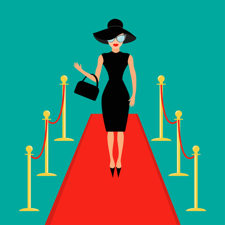 Red carpet and rope barrier golden stanchions turnstile Isolated Woman in black hat, bag, sunglasses waving. Rich beautiful celebrity girl. Fashion model. Green background. Flat design Vector