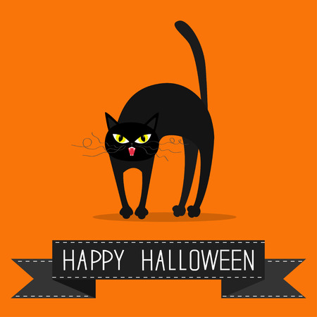 whisker: Cat arch back. Yellow eyes, fangs, curl moustaches whisker. Black ribbon. Happy Halloween greeting card. Funny cartoon character. Isolated. Orange background. Flat design. Vector illustration